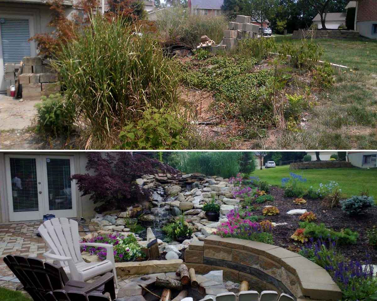 Before And After Waterfall Paver Patio Koi Pond West Chester Ohio